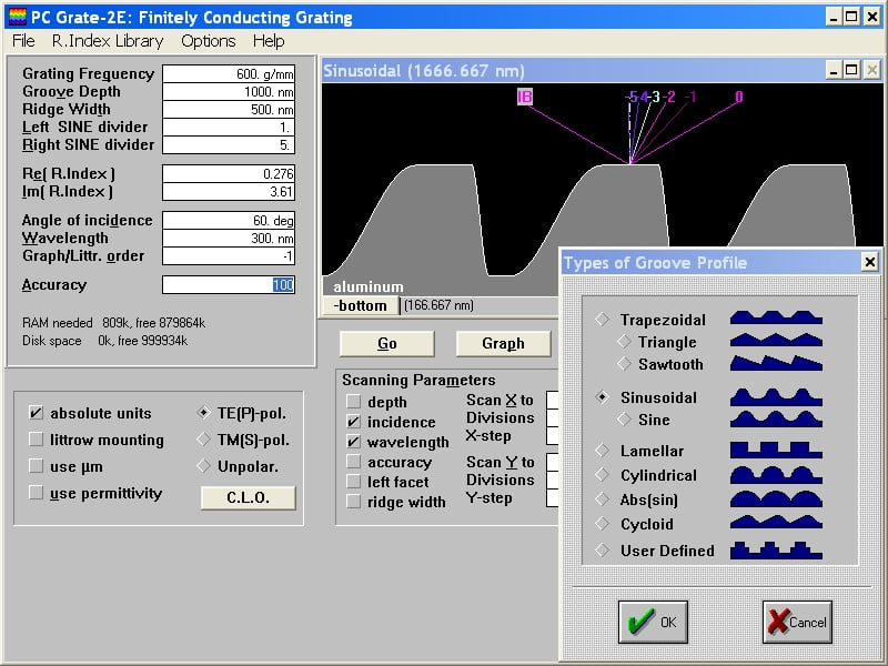 PC Grate v.3.0 Series for Windows® 16-bit is the first both free and widely used commercial software for grating efficiency calculation. It solves a broad spectrum of grating efficiency problems.