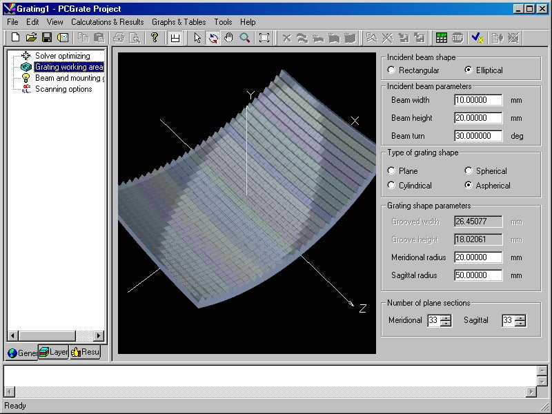 This item enables you to customize all geometry parameters of the beam and grating shapes (v. 6.6).