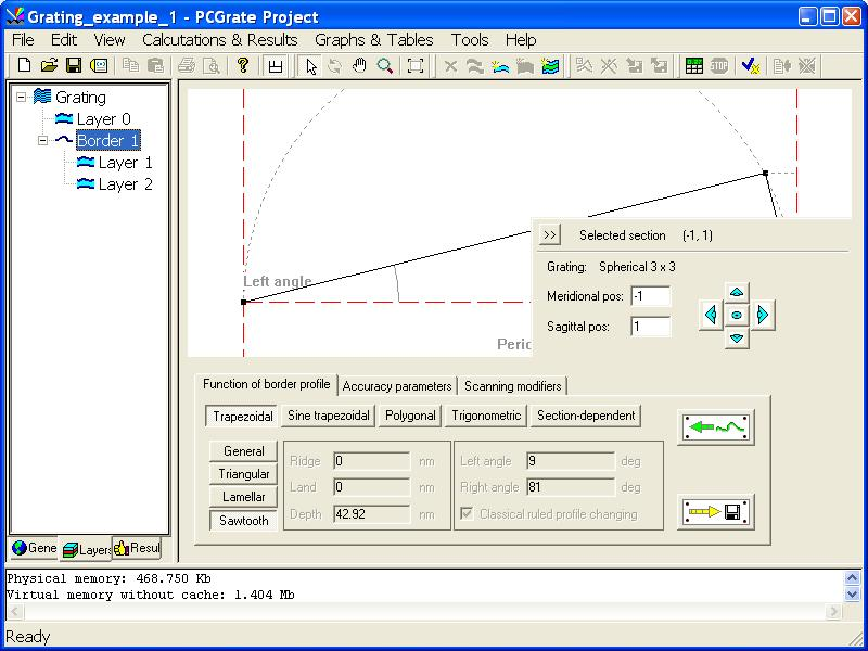 Geometric parameters of border functions can be found on the first tab named 'Function of border profile'.