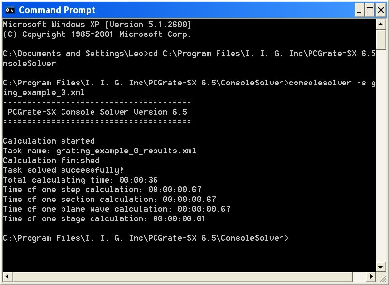 The status information about solving process is displayed in the console while a task is being solved.