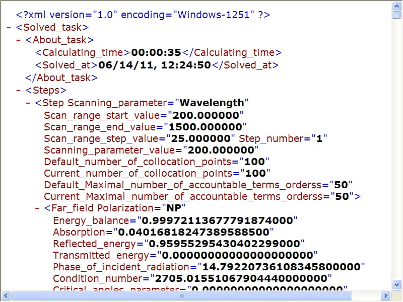 An example of resulting data in XML format for 'Sawtooth High-Conductive Grating for the NP Polarization in the NUV–NIR' (v.6.6).